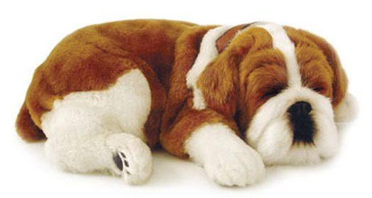 Cachorro de pelúcia que respira